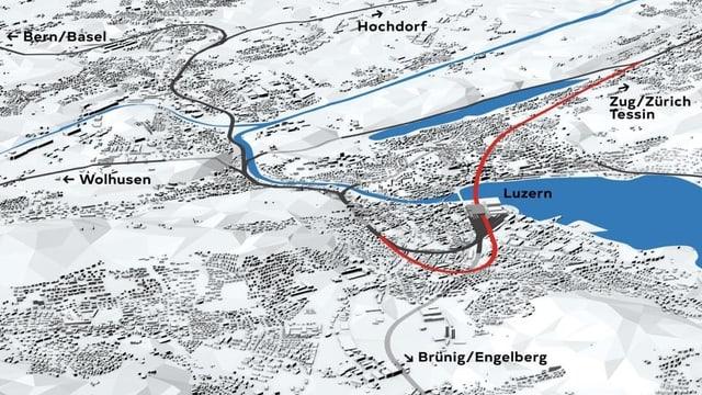 Plan der neuen Linienführung mit dem Durchgangsbahnhof Luzern.