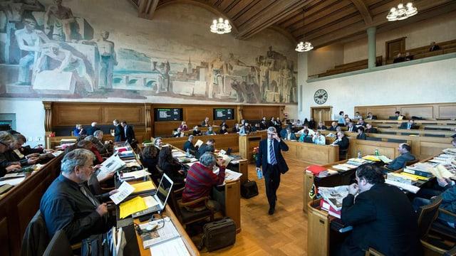 Das Kantonsparlament tagt. Blick in den Ratssaal.