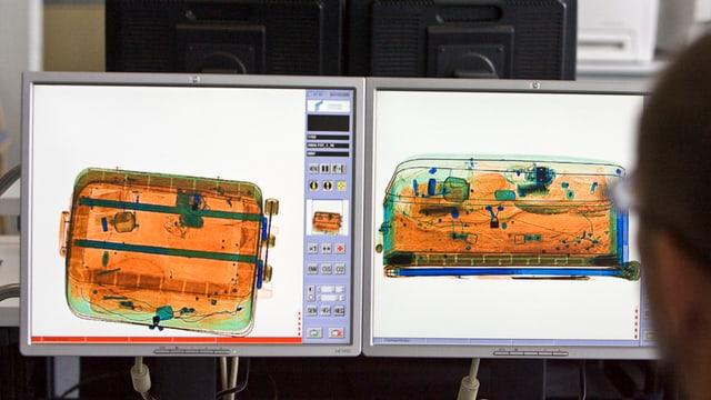 Kofferscreening auf Bildschirm