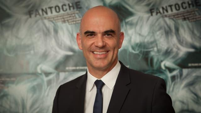 Alain Berset vor Fantoche-Logo