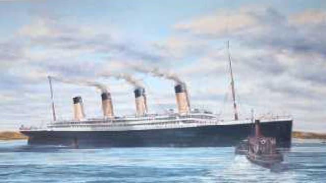 Das Gemälde zeigt die Titanic beim Auslaufen aus Queenstown.