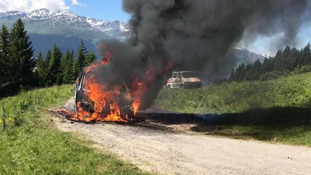 L'auto è en flommas.