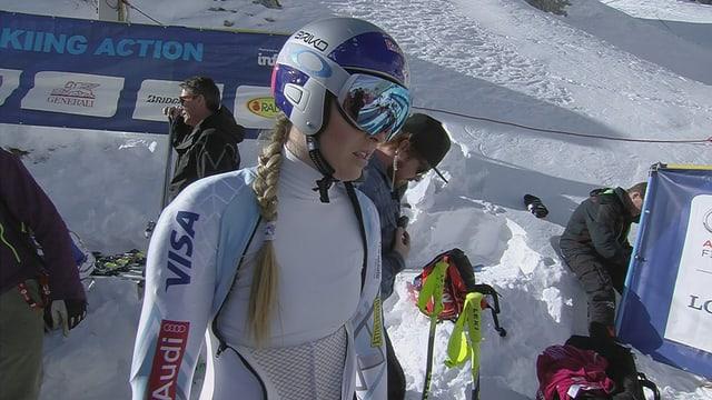 Lindsey Vonn bereitet sich aufs Rennen vor.