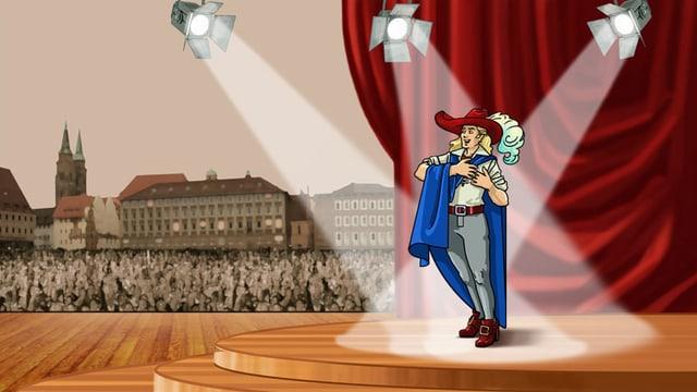 Zeichnung: Blonder junger Mann mit Federhut auf einer Bühne im Scheinwerferlicht.