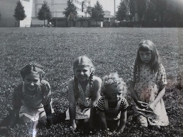 Vier Mädchen sitzen auf einer Wiese.