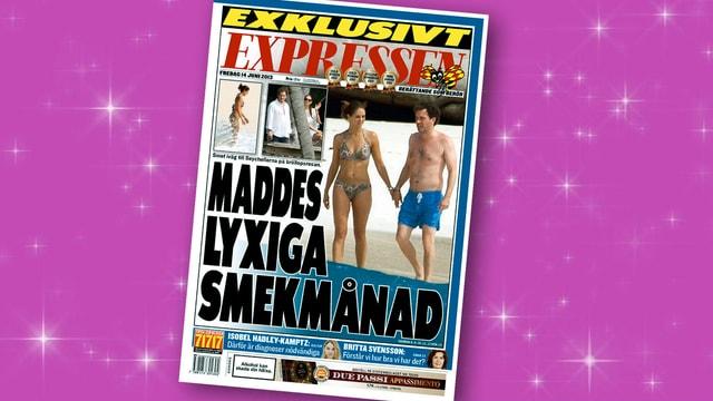 Zeitungstitelseite mit Foto von Prinzessin Madeleine am Strand