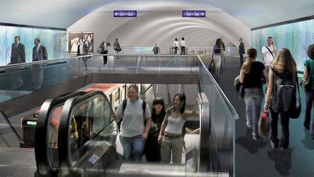 Fotomontage, welche den neuen Bahnhof zeigt.