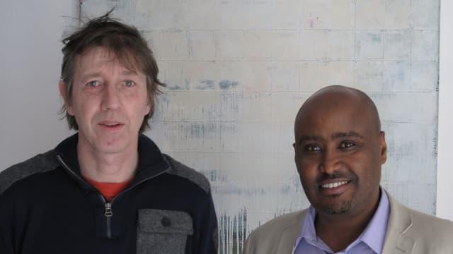 Adi Blum vom deutschschweizer PEN-Zentrum und der Eritreer Daniel Mekonnen.