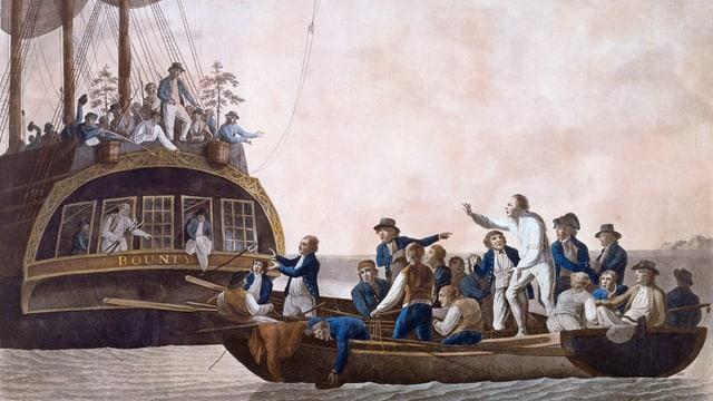 Ein Gemälde von Robert Dodd aus dem Jahr 1790 zeigt die Meuterei auf der Bounty.