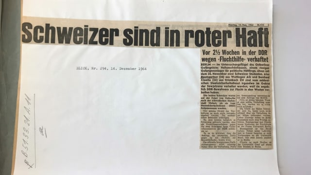 Zeitungsausschnitt aus dem «Blick».