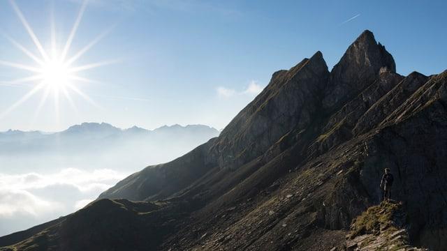 ina muntogna en Svizra - ins vesa davostiers il sulegl ed in banc da nivels.