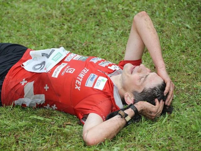 Erschöpft vom Wettkampf-Marathon an der OL-WM: Mit gekürzter Disziplinenanzahl dieses Jahr ein wohl eher seltenes Bild.