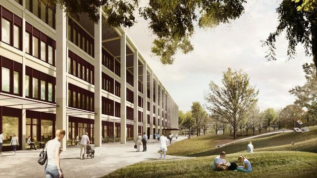 Visualisierung des Spitals mit Park.