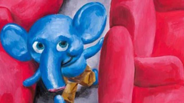 Gezeichneter Elefant im Kino.