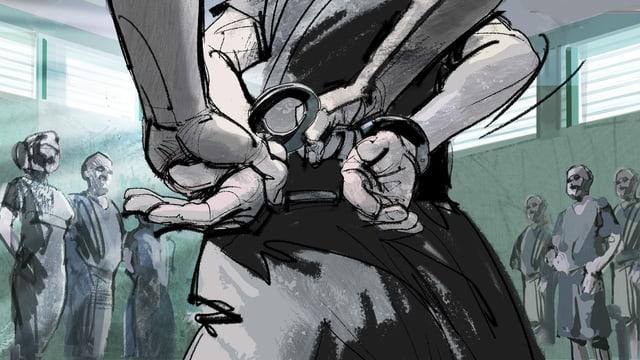 Illustration: Einem Menschen werden Handschellen angelegt