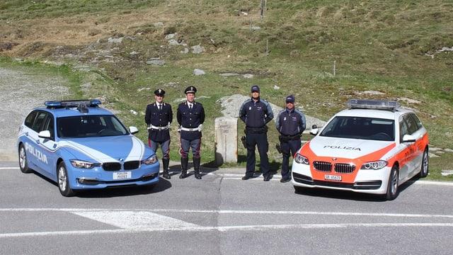 Polizia taliana ensemen cun la polizia grischuna.