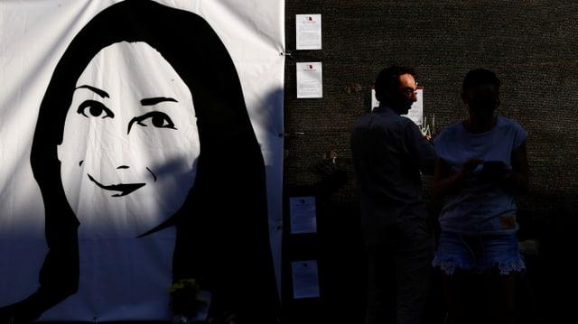 Transparent mit Portrait von Caruana Galizia.