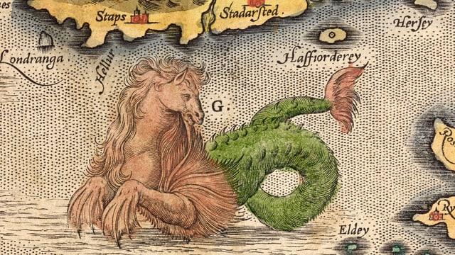 Eine Karte, auf der ein Ungeheuer mit Pferdekopf und Fischschwanz zu sehen ist.