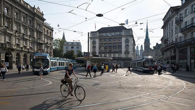 Der Paradeplatz in Zürich.