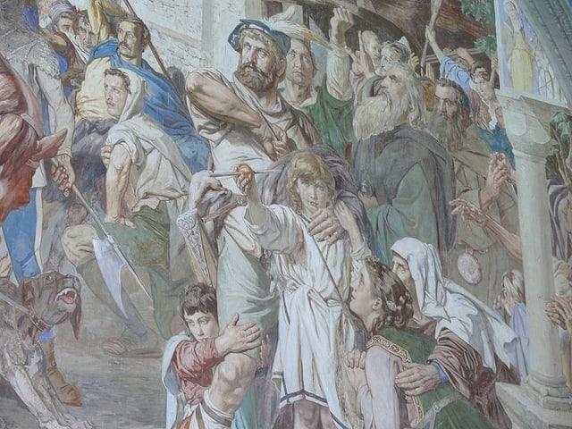 Der Apfelschuss von Wilhelm Tell, hier dargestellt auf einem Fresco in der Tellskapelle am Vierwaldstättersee in Uri.