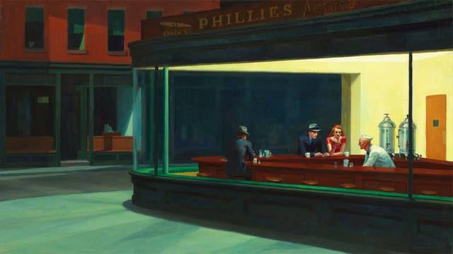 Drei Menschen sitzen, jeder für sich, in einer Bar.