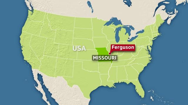 Kartenausschnitt USA, Ferguson ist eingezeichnet.