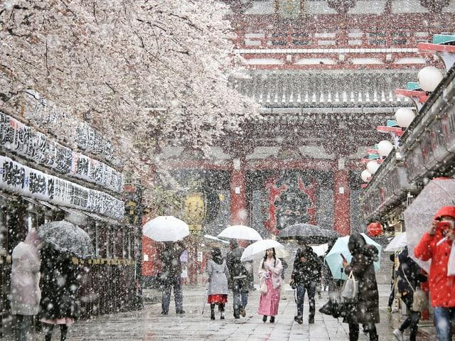 In Tokio schneit es.