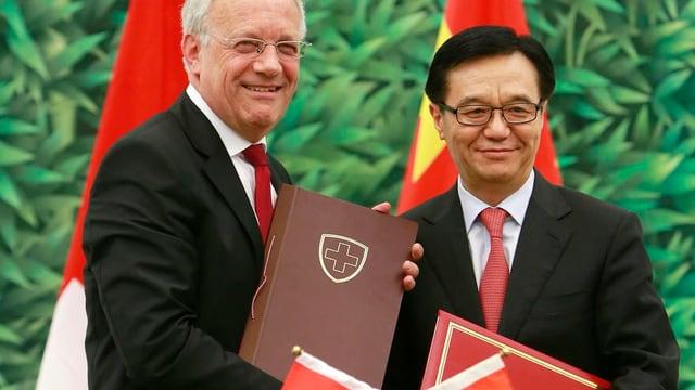 Schneider-Ammann mit chinesischem Amtskollegen.