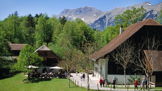 Historische Häuser und Besucher vor Bergkulisse.