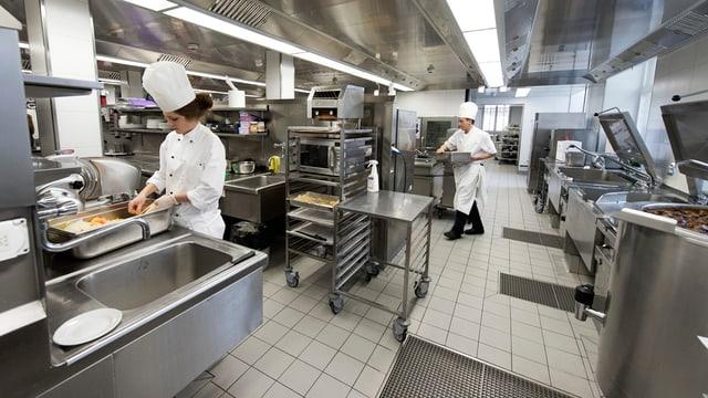 Blick in eine Restaurantküche, wo zwei Köche am Arbeiten sind.
