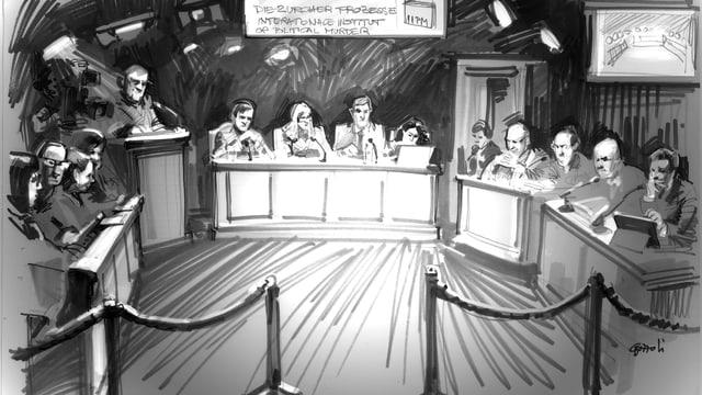 Zeichnung des Gerichtssaals