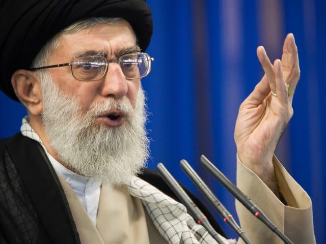 Chamenei spricht in Mikrofone.