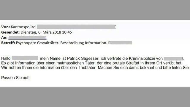 Ausschnitt aus einer Betrüger-Email