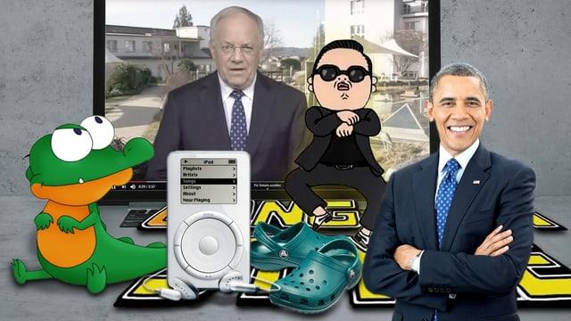 Collage aus Crocs, Gangnam Style, Obama, Schnappi, Johann Schneider-Ammann und iPod.