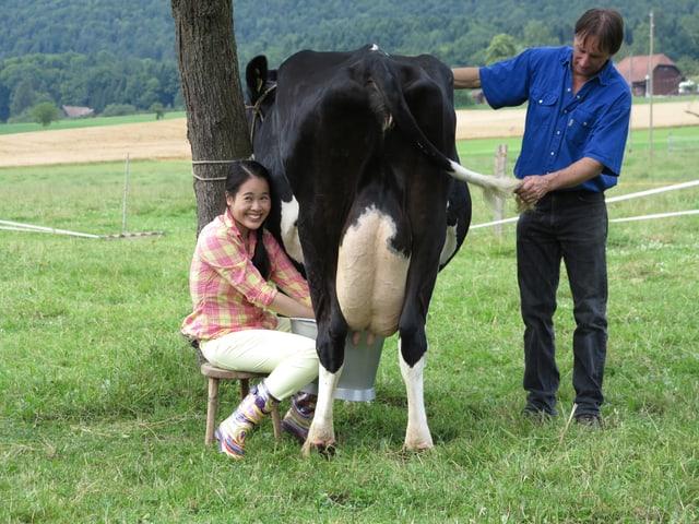 Eine junge Chinesin melkt eine Kuh.