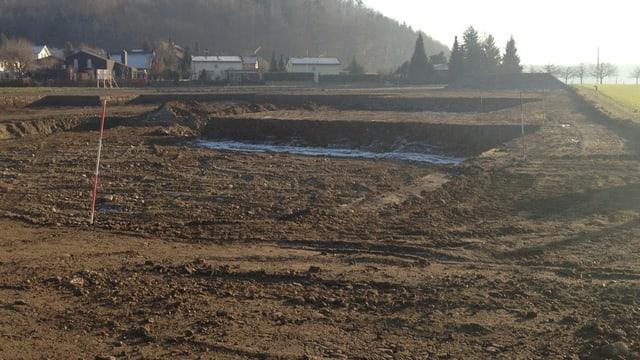 Baugrube auf einem Feld