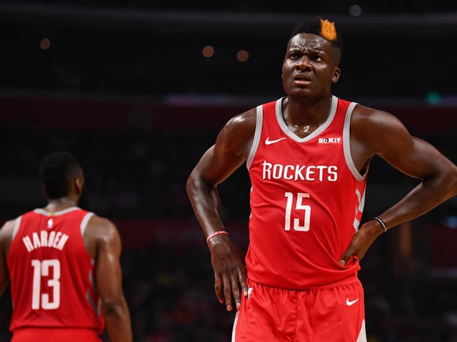 James Harden (links) und Clint Capela im Dress der Houston Rockets