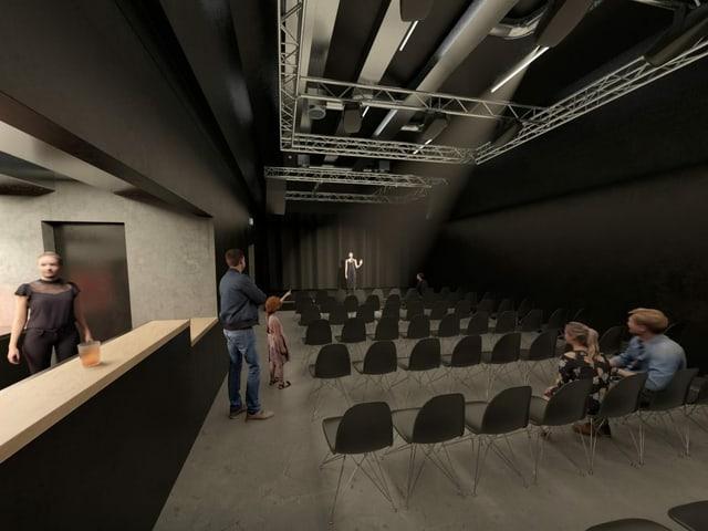 Projektbild: Innenbereich mit Bühne.