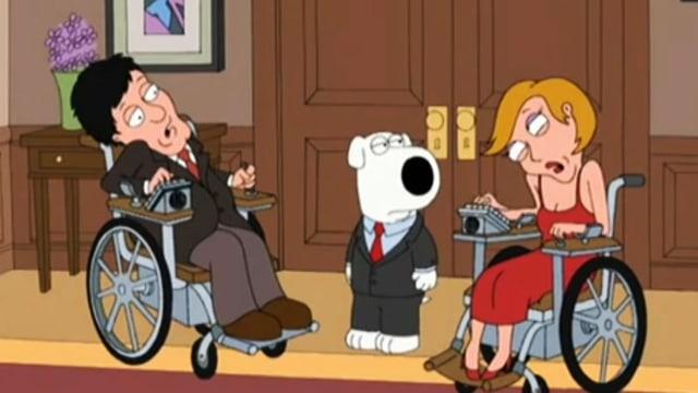 Zwei Comicfiguren sitzen im Rollstuhl. Zwischen ihnen sitzt ein Hund.