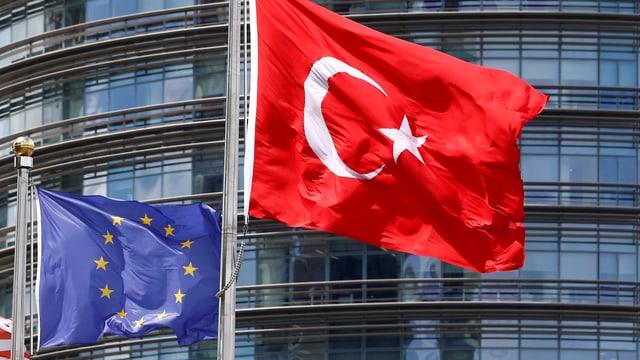 Europafahne und die türkische Flagge vor einer Glasfassade