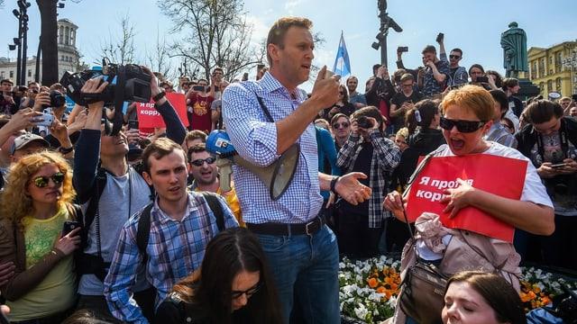 Alexej Nawalny und seine Anhänger vor den Präsidentschaftswahlen 2018.