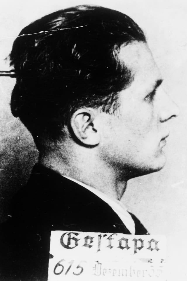 Gestapo-Aufnahme Honecker aus dem Jahr 1935.