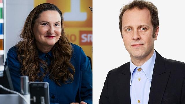 Heidi Ungerer, publizistische Leiterin von Radio SRF 1 und Michael Schuler, Leiter der Fachredaktion Musik (Pop & Rock).