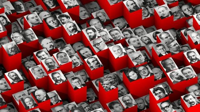 Fotos von ganz vielen Bundesräten zu einer Kollage zusammengefügt.