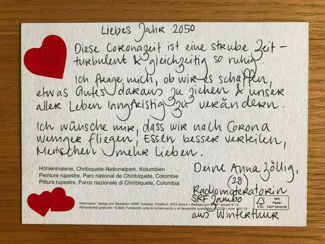 Die Postkarte von Moderatorin Anna Zöllig