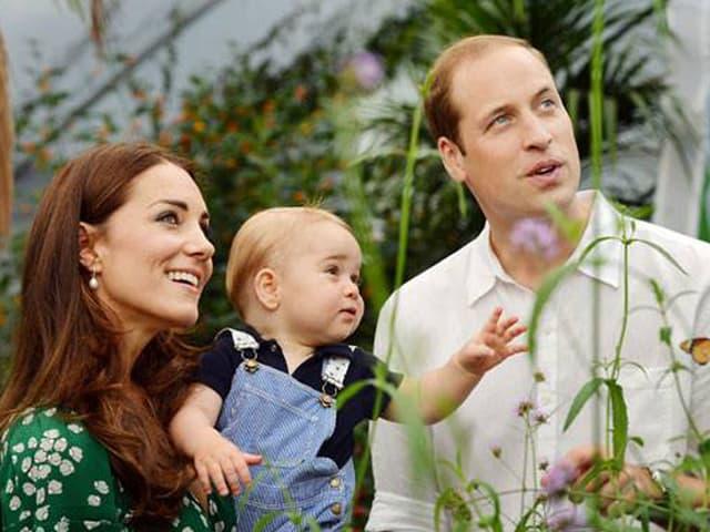 William, Kate und das Geburi-Kind bei einer Schmetterling-Ausstellung im «Natural History Museum» in London.