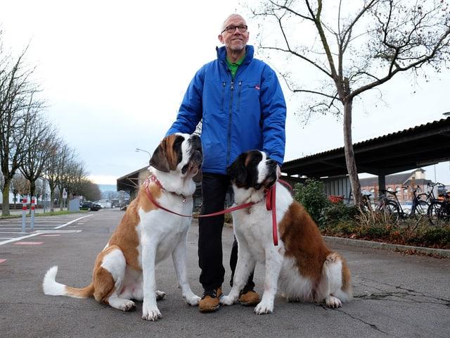 Peter Glaus mit zwei Bernhardinerhunden.