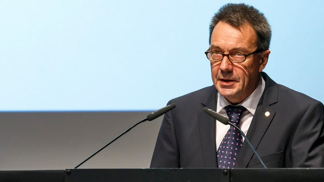 Il president da l'IKRK, Peter Maurer a la 32avla conferenza internaziunala da la Crusch cotschna e da la Mesaglina cotschna.