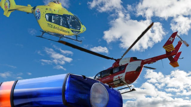 Bildmontage: Rega-Helikopter und TCS-Helikopter vor blauem Himmel, im Vordergrund ein Blaulicht eines Fahrzeuges.