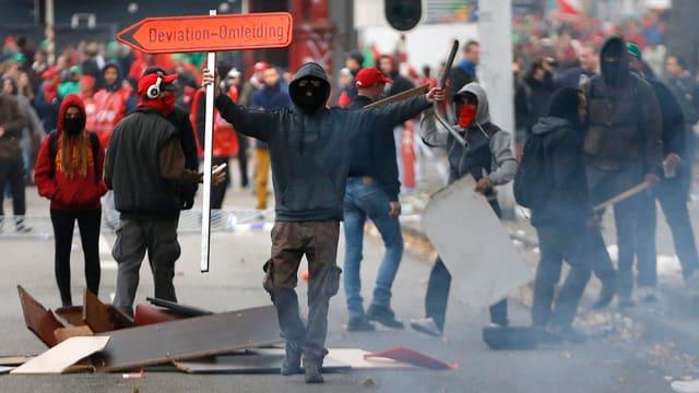 Demonstrants a Brüssel.